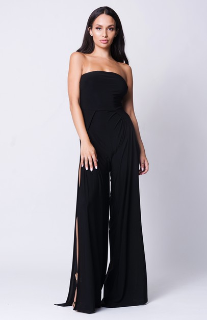 STRAPLESS WIDE LEGS JUMPSUIT - orangeshine.com