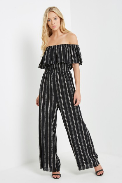Striped Off the Shoulder Jumpsuit - orangeshine.com