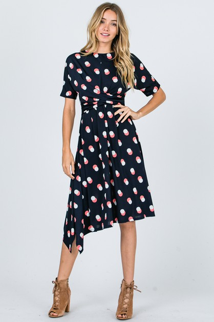 Drape Front Floral  Fashion Dress - orangeshine.com