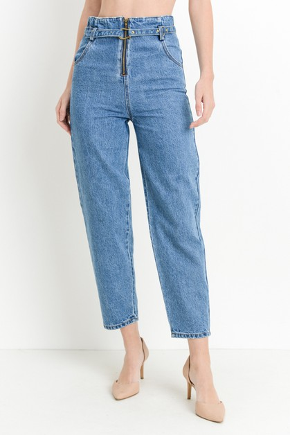 High Waist Belted Mom Jeans - orangeshine.com