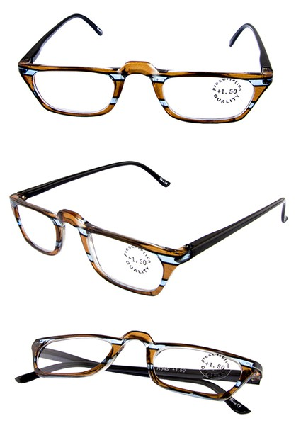 Unisex striped frame reader glasses - orangeshine.com