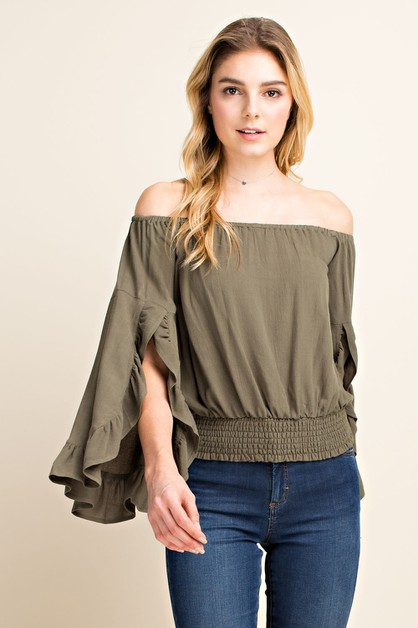 Off Shoulder Bell Sleeve Blouse - orangeshine.com