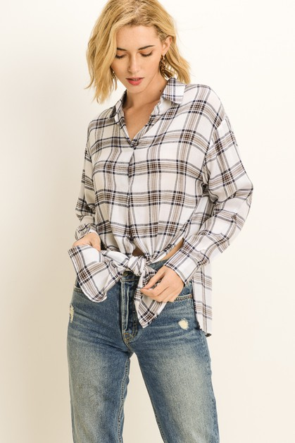 Plaid Split Panel Top - orangeshine.com