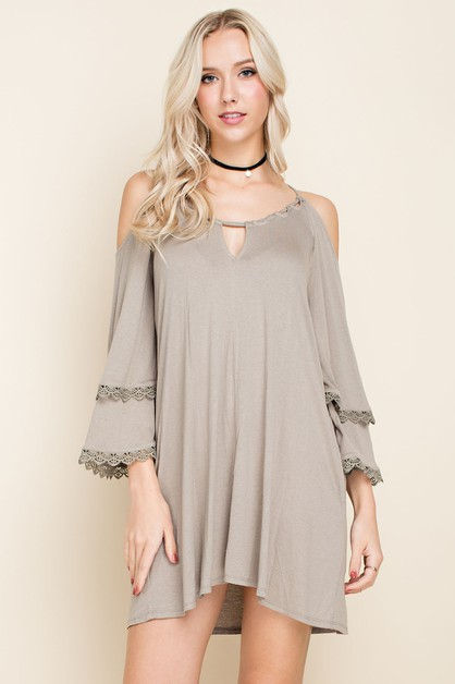 Strappy Cold Shoulder Dress - orangeshine.com