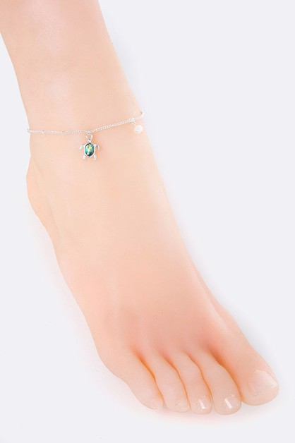 Turtle and Pearl Charms Anklet - orangeshine.com