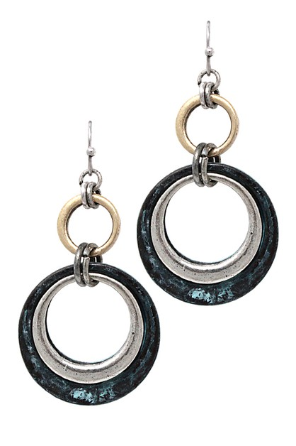 Metal Drop Hook Earrings - orangeshine.com