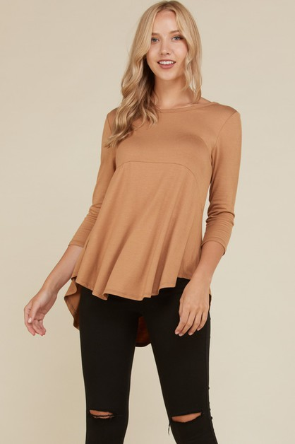 Solid Round Neck Babydoll Tunic Top - orangeshine.com