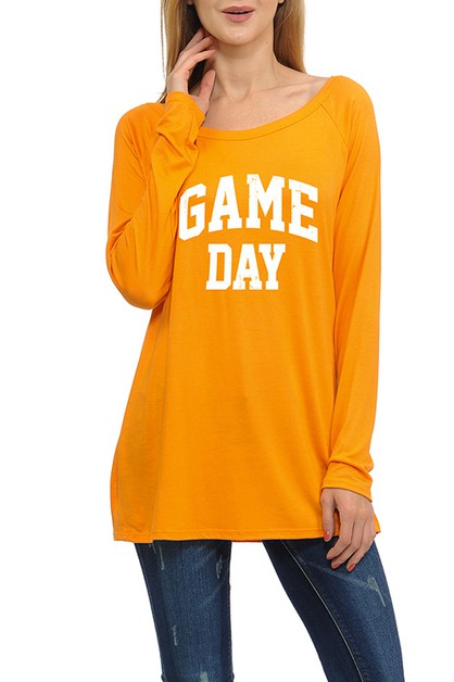 GAME DAY OFF SHOULDER LONG SLEEVE T - orangeshine.com