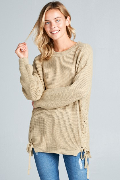 SIDE TWIST BOW ROUND NECK SWEATER - orangeshine.com