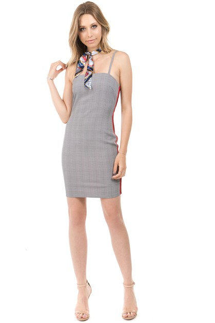 checker side stripe contrast dress - orangeshine.com