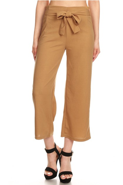 Solid Cropped Wide Leg Palazzo Pants - orangeshine.com