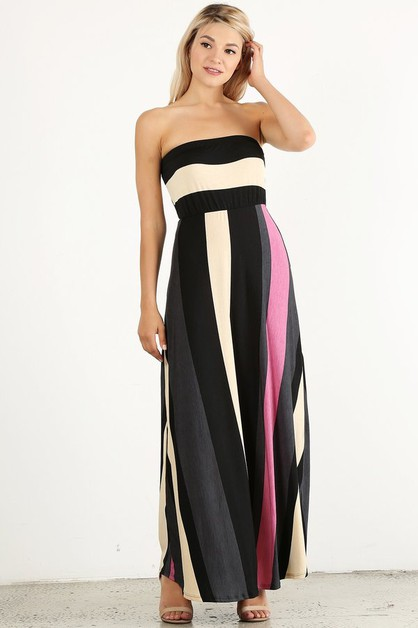 Striped strapless maxi dress in a  - orangeshine.com