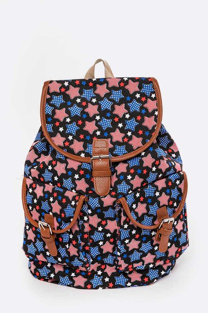 American Star Print Canvas Backpack - orangeshine.com