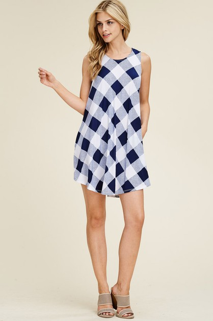 Checker Dress With Pockets - orangeshine.com