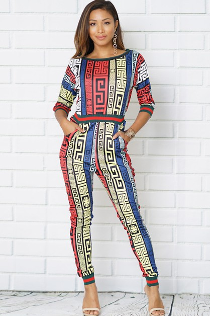 the jumpsuits geometry print - orangeshine.com