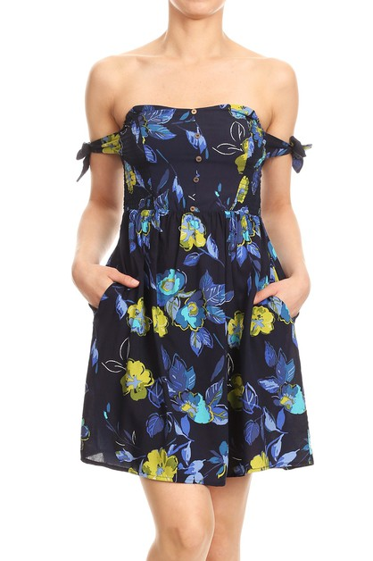 Navy Floral Dresses Tropical Boho - orangeshine.com
