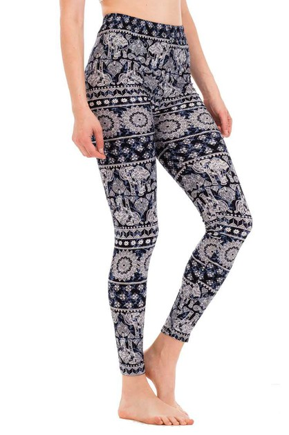 Hindu Elephant Print Leggings - orangeshine.com