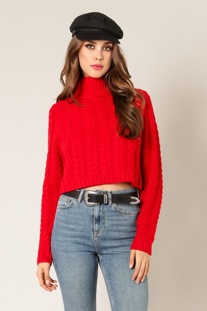 Cowl Neck Knitted Cropped Sweater - orangeshine.com