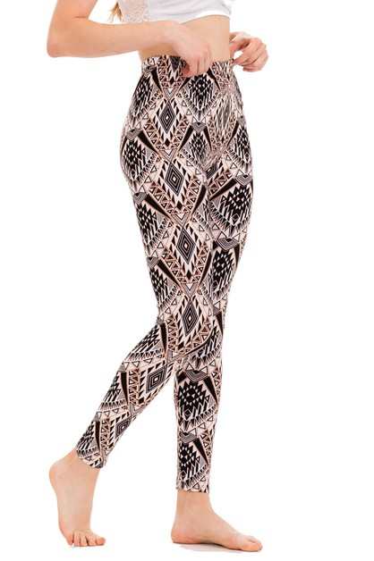Tribal Print Brushed Leggings - orangeshine.com