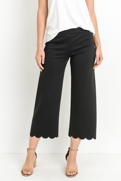 Scallop Solid Pants - orangeshine.com