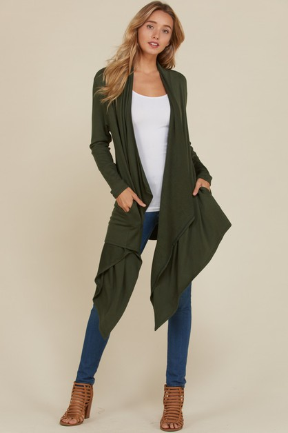 Long Sleeve Waterfall Cardigan - orangeshine.com