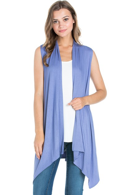 Sleeveless Asymmetric Cardigan - orangeshine.com