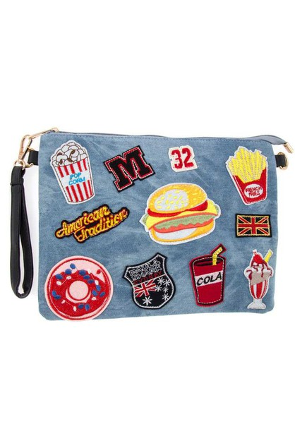 Fast Food Patched Denim Clutch Bag - orangeshine.com