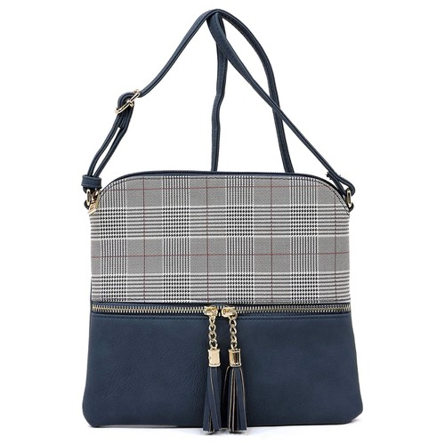 Houndstooth Check Printed Crossbody - orangeshine.com