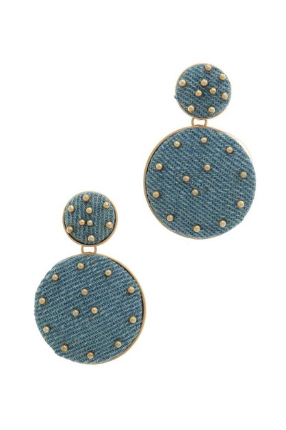 DENIM FABRIC CIRCLE DROP EARRING - orangeshine.com