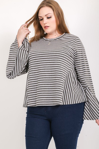 PLUS SIZE STRIPED BELL SLEEVE TOP - orangeshine.com