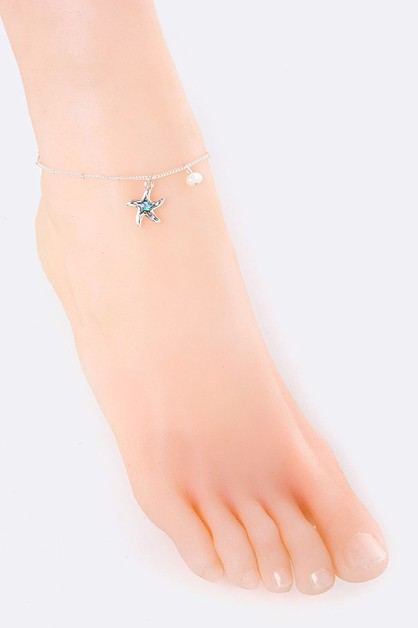 Starfish and Pearl Charms Anklet - orangeshine.com