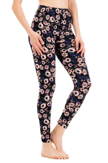 Flower Print Leggings - orangeshine.com