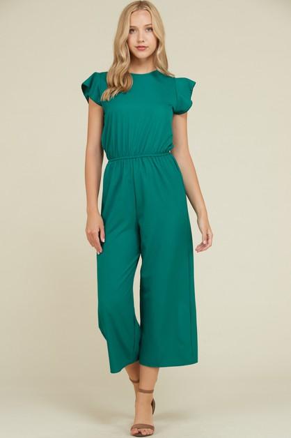 RUFFLED CROPPED BK NECK TIE JUMPSUIT - orangeshine.com