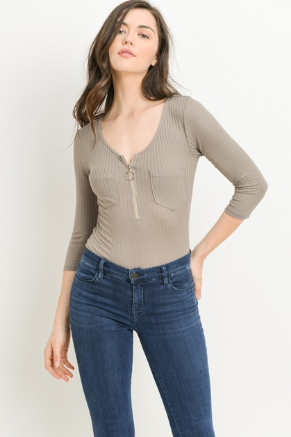 Ribbed Zip Front Bodysuit - orangeshine.com