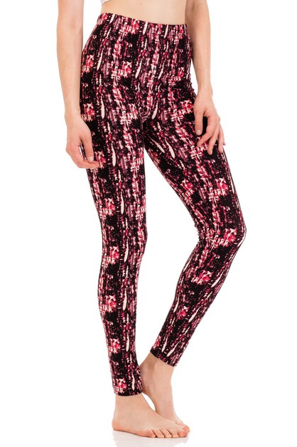 Abstract Print Peach Skin Leggings - orangeshine.com