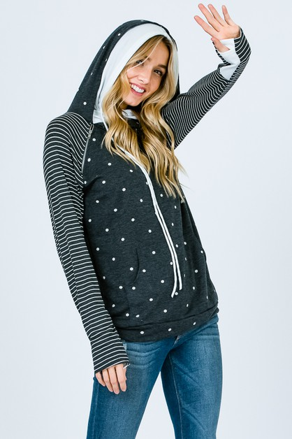 POLKA DOT SIDE ZIP HOODIE - orangeshine.com