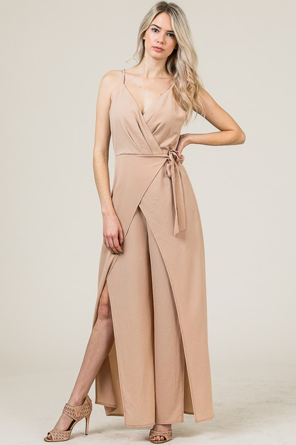 WRAP JUMPSUIT WITH SLIT - orangeshine.com