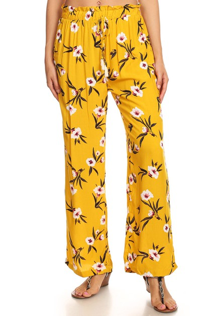 Yellow Floral Palazzo Wide Leg Pants - orangeshine.com
