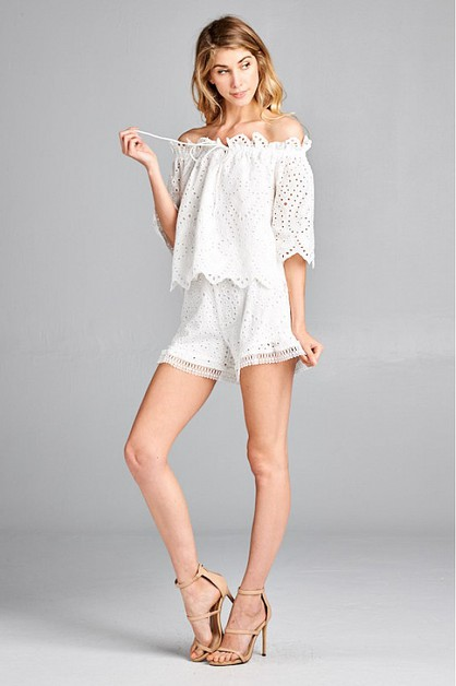 EYELET COTTON RUFFLE SHORTS  - orangeshine.com