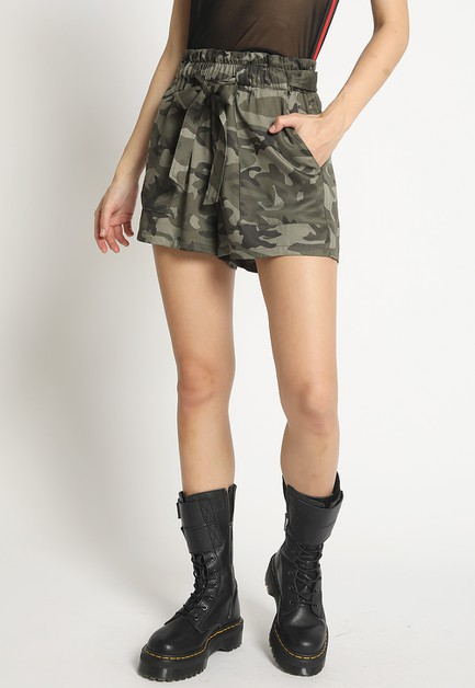 CAMO SHORTS WITH SELF TIE - orangeshine.com