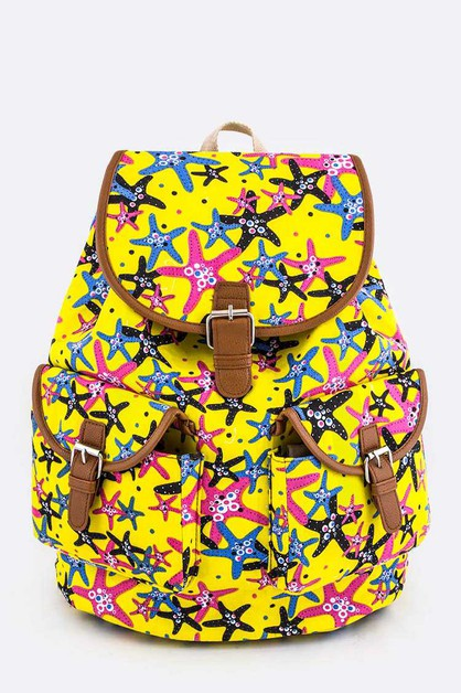 Comic Starfish Print Canvas Backpack - orangeshine.com