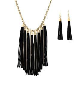 Tassel Earrings and Necklace Set - orangeshine.com