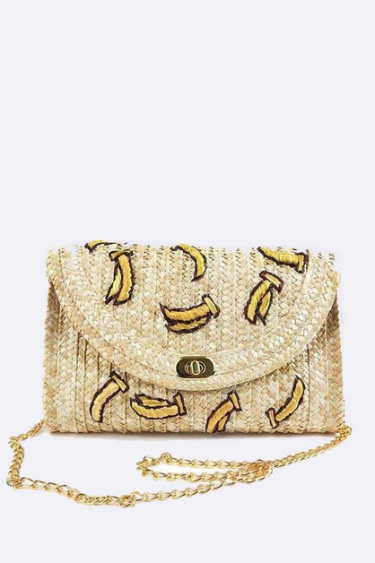 Embroidery Banana Convertible Clutch - orangeshine.com