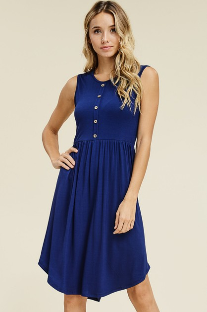 SLEEVELESS BUTTON DETAIL MIDI DRESS - orangeshine.com