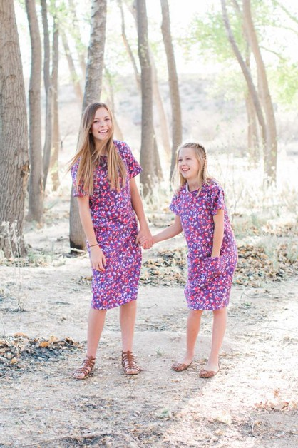 Lillie Dress - Plum Floral Tween - orangeshine.com