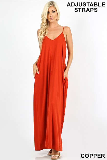 V-NECK CAMI MAXI DRESS WITH POCKETS - orangeshine.com