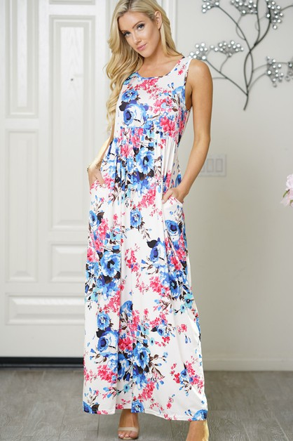 maxi dress elastic band floral print - orangeshine.com