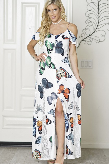 maxi dress cold shoulder - orangeshine.com