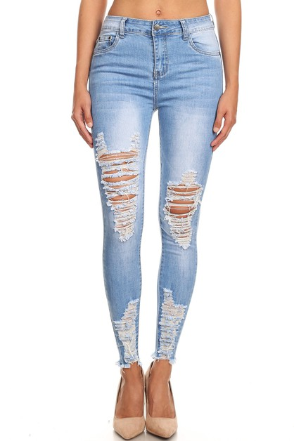 MID RISE LIGHT BLUE DISTRESSED JEANS - orangeshine.com