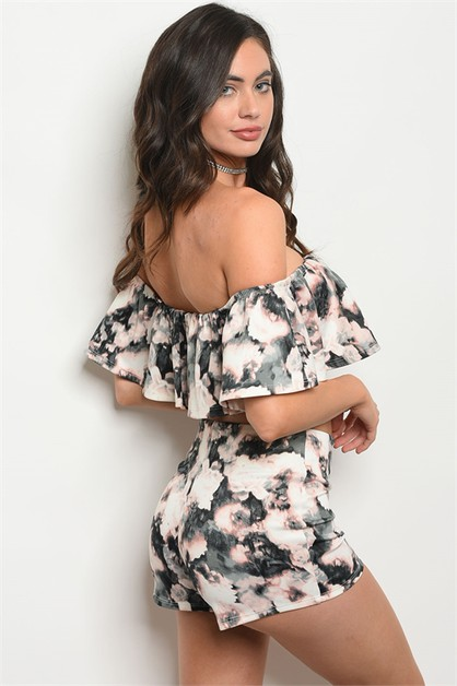 off  shoulder ruffled  top N shorts  - orangeshine.com